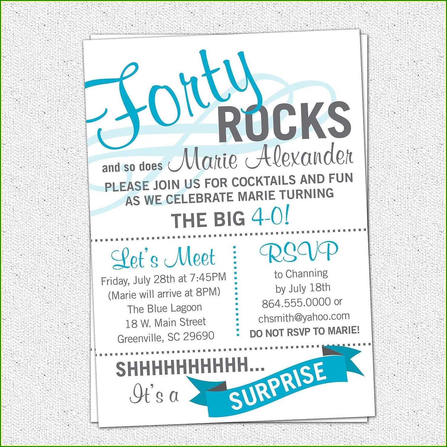 40th Birthday Invite Wording For Her