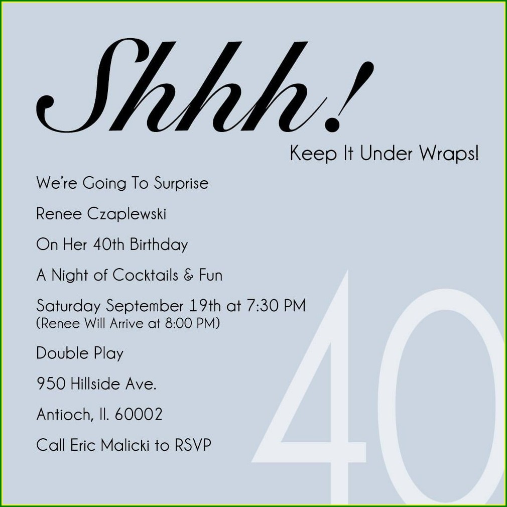 40th Birthday Invite Wording Funny