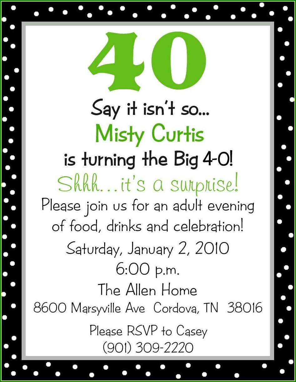 40th Birthday Invite Wording
