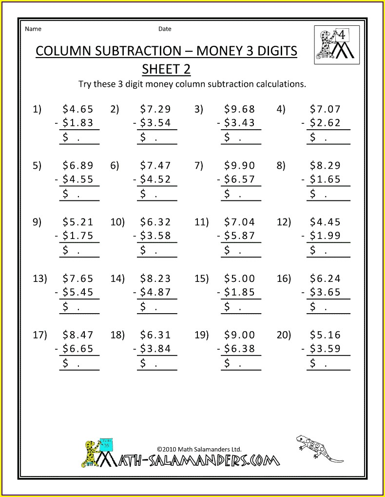 4th Grade Math Word Problems Addition And Subtraction Worksheets