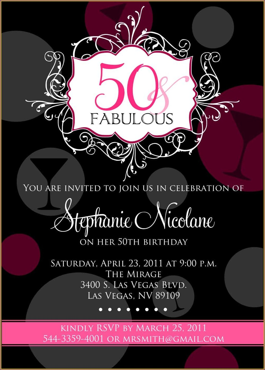 50th Birthday Invitations For Her Templates
