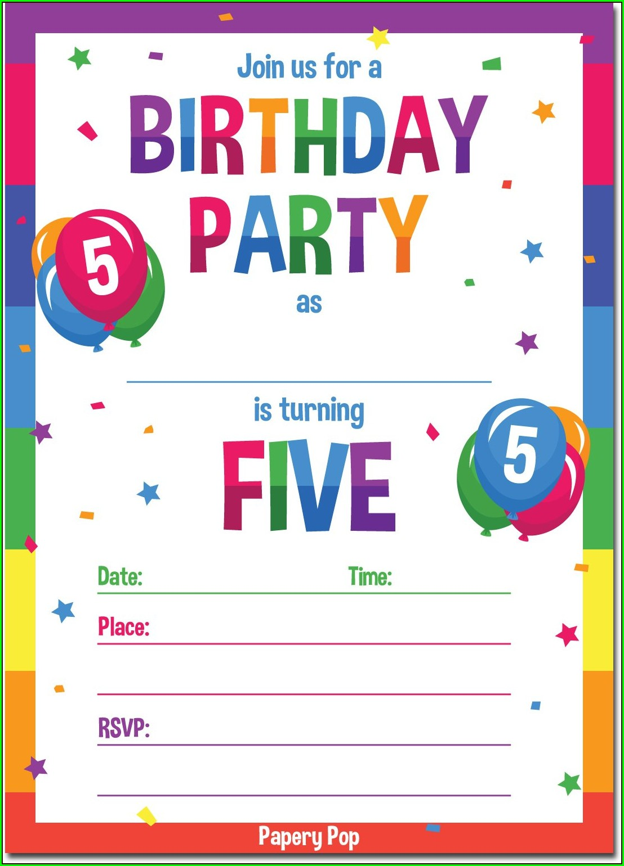 5th Birthday Invitation Templates For Boy