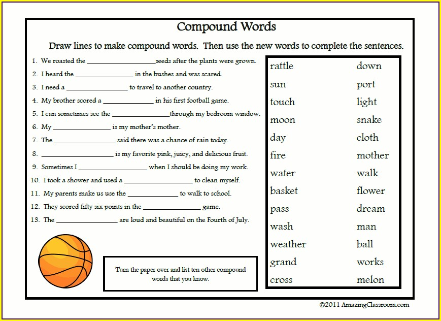 5th Grade Compound Words Worksheet Pdf