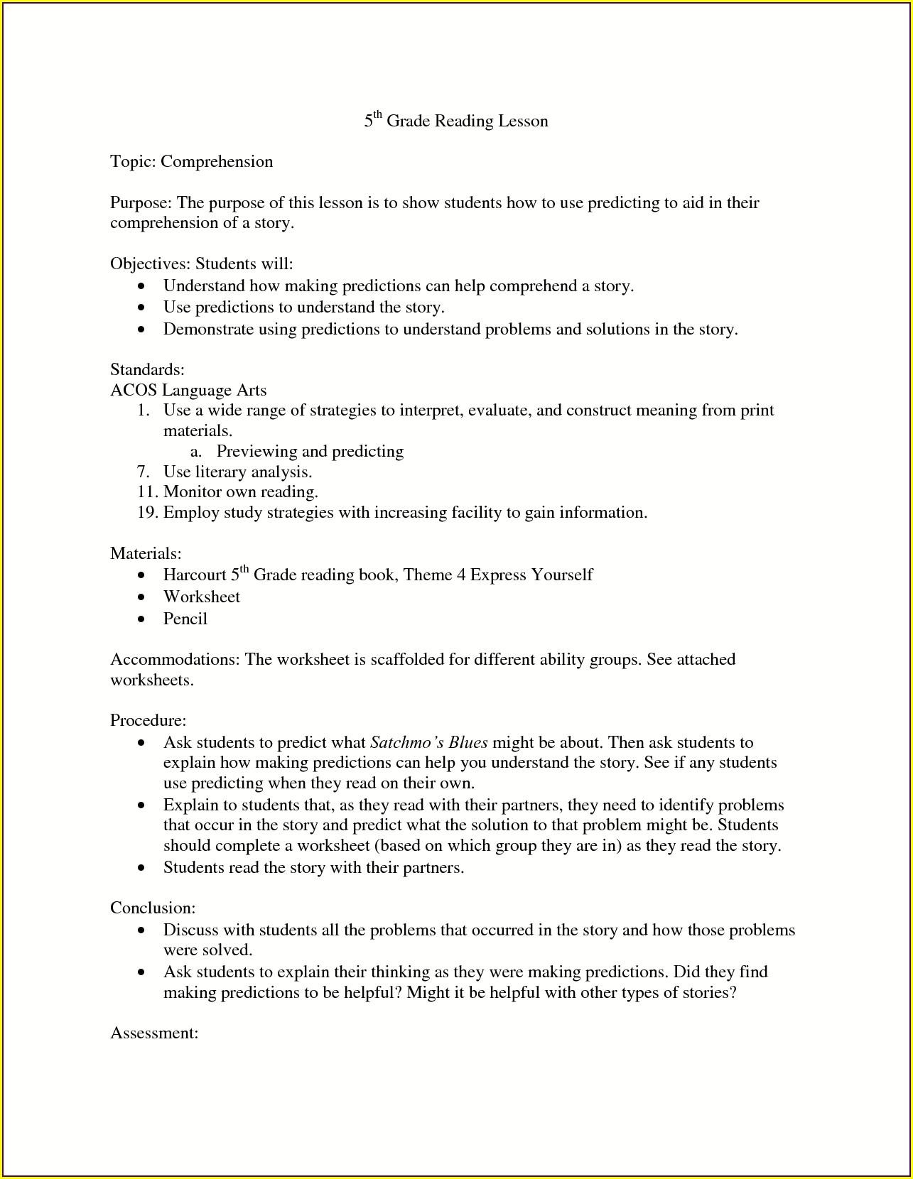 5th Grade Worksheets For Language Arts