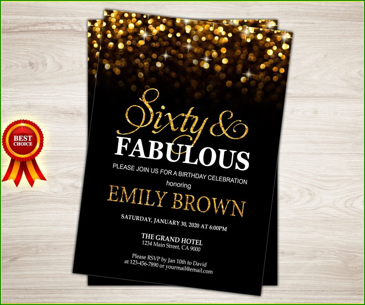 60th Birthday Evite Invitations