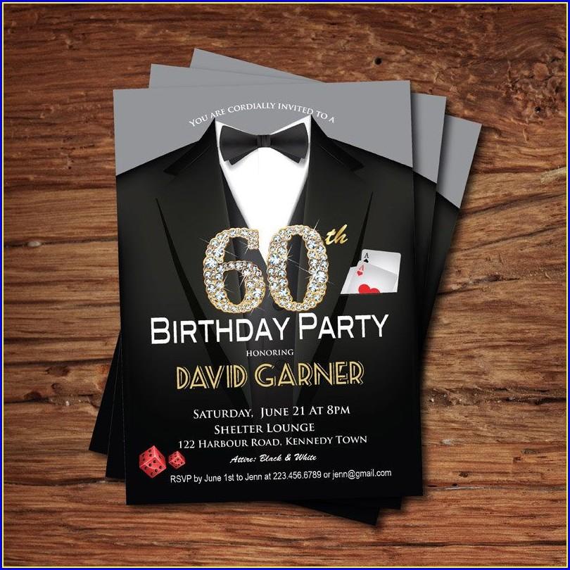 60th Birthday Invitations Male Template