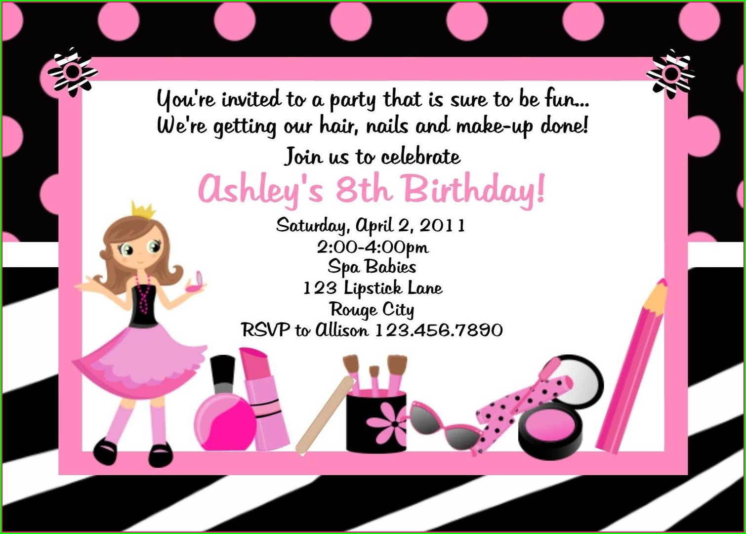 6th Birthday Invitation Wording For Girl