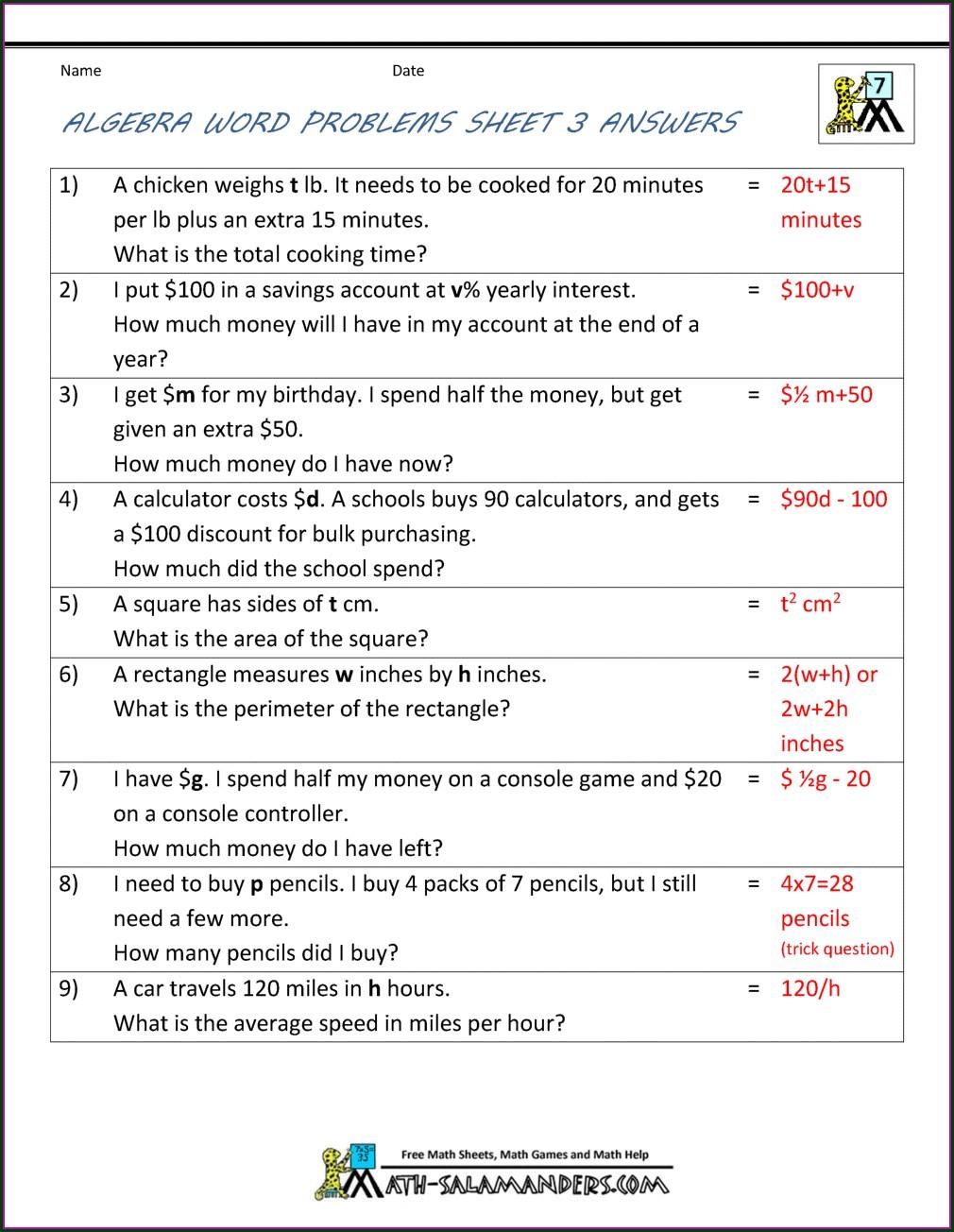 6th Grade 5th Grade Math Word Problems Worksheets Pdf