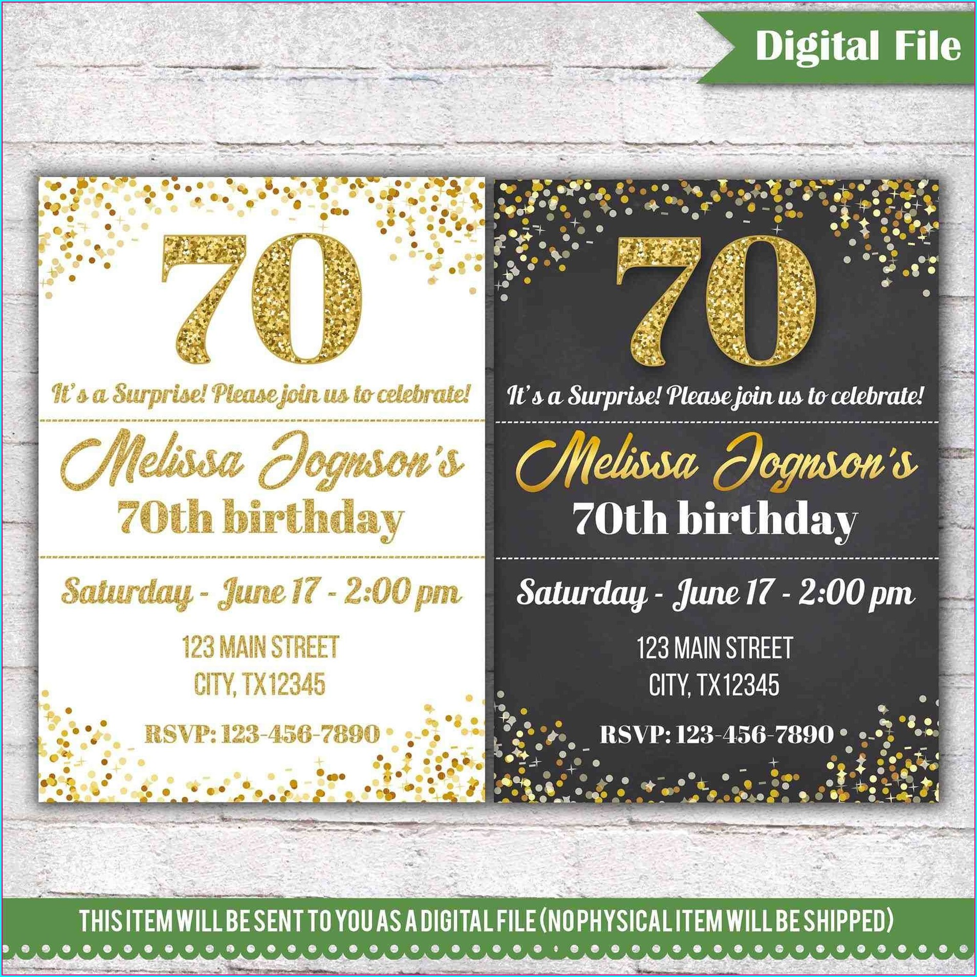 70th Birthday Invitations For Him