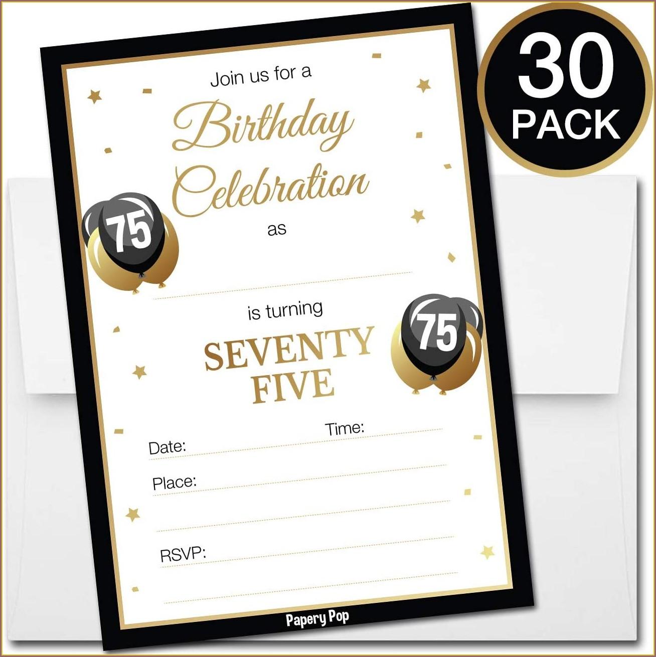 75 Year Old Birthday Invitations