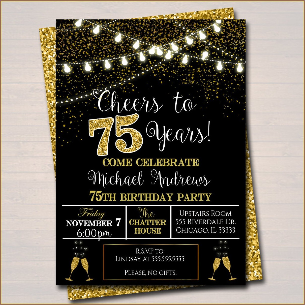 75 Years Birthday Invitation Cards
