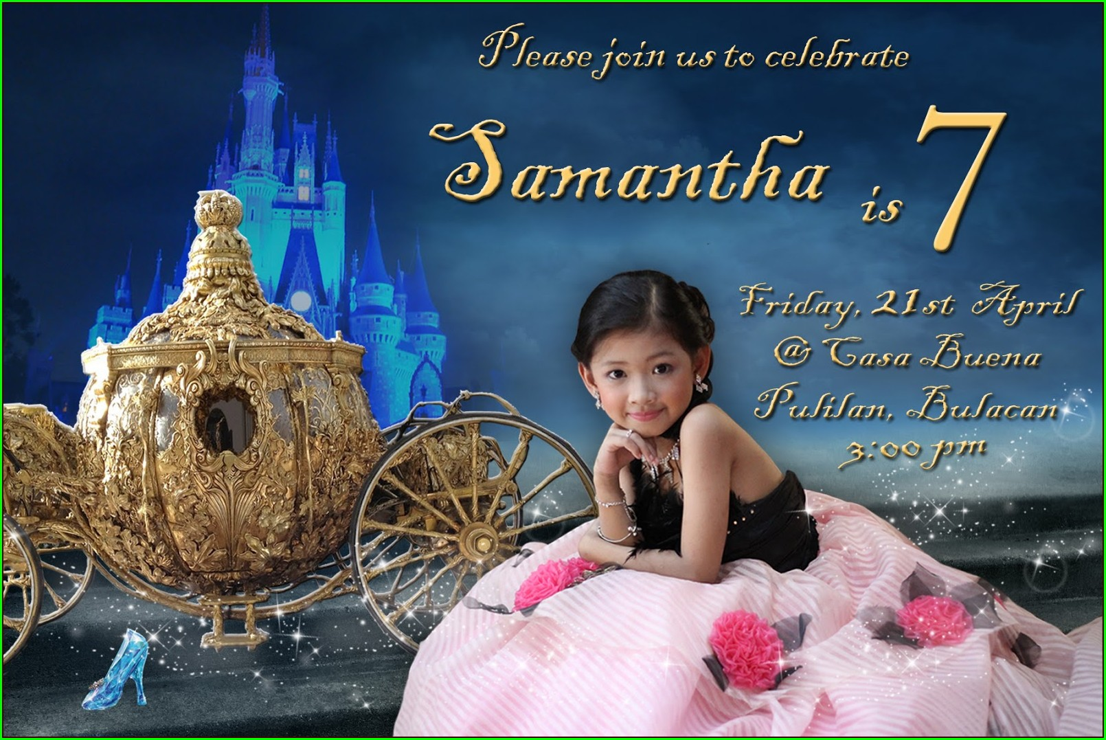 7th Birthday Invitation Layout