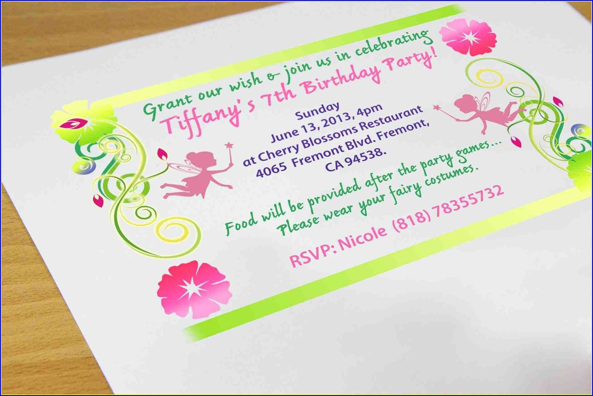 7th Birthday Invitation Wording Ideas