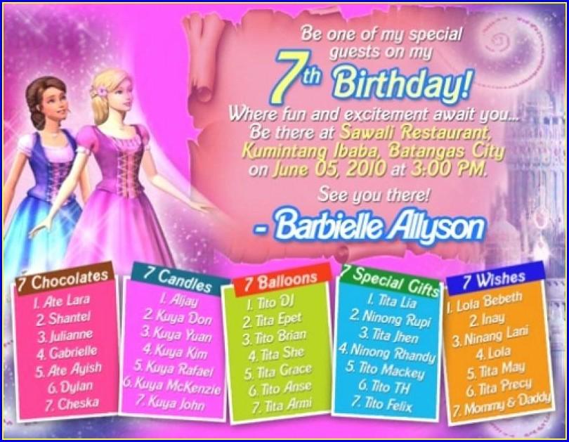 7th Birthday Invitation Wording Samples