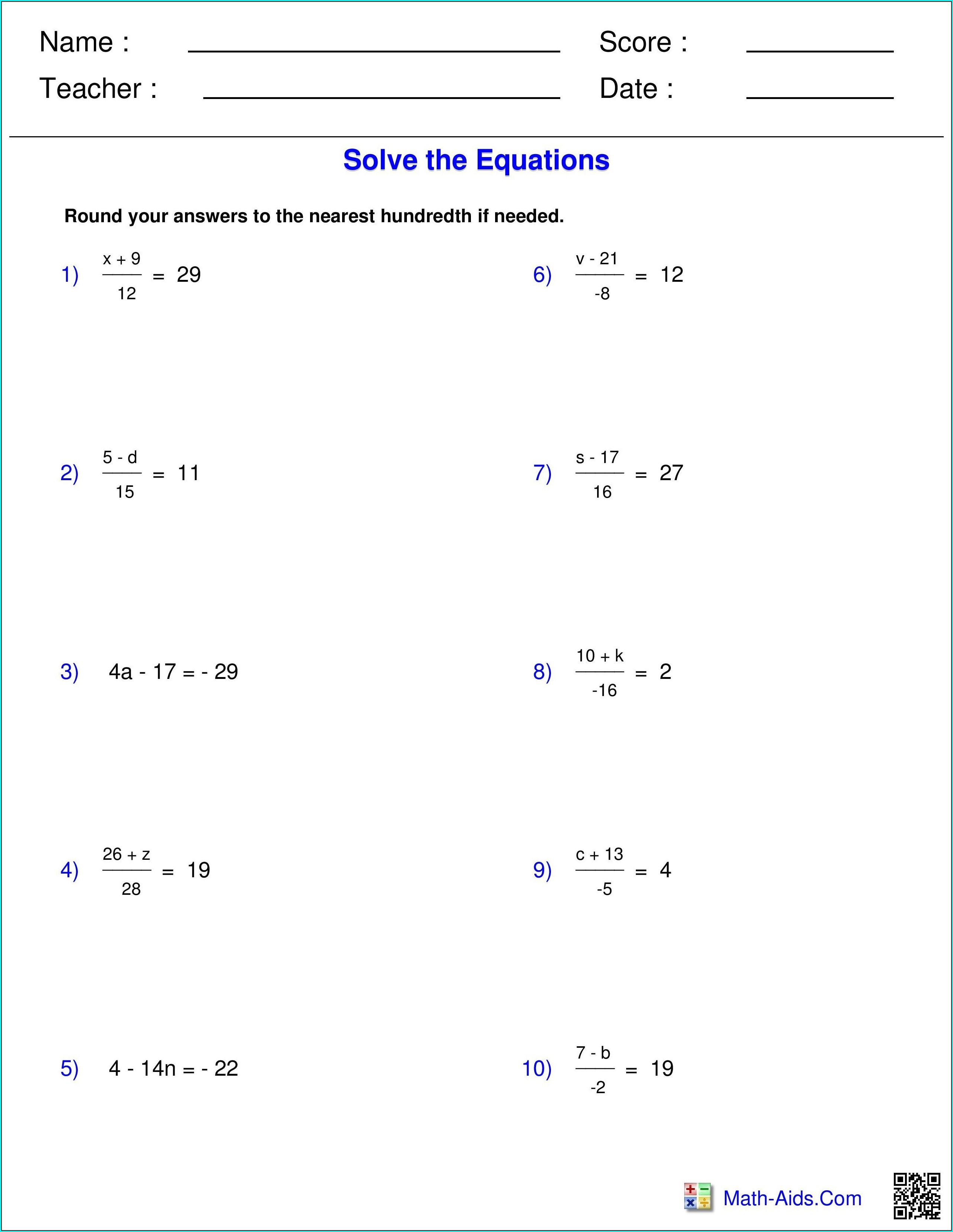 7th Grade Pre Algebra Math Worksheet