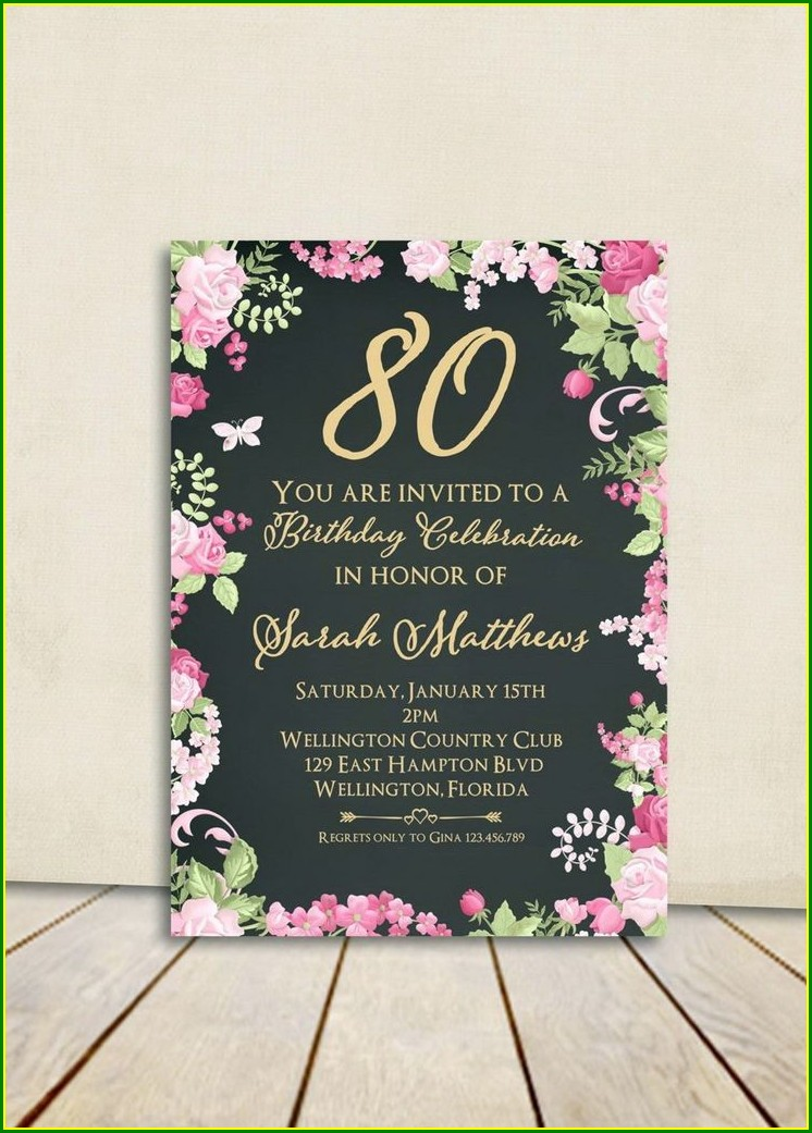 80s Birthday Invitations Templates
