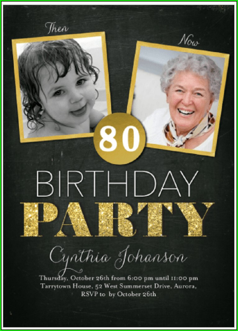 80th Birthday Invitation Card Design