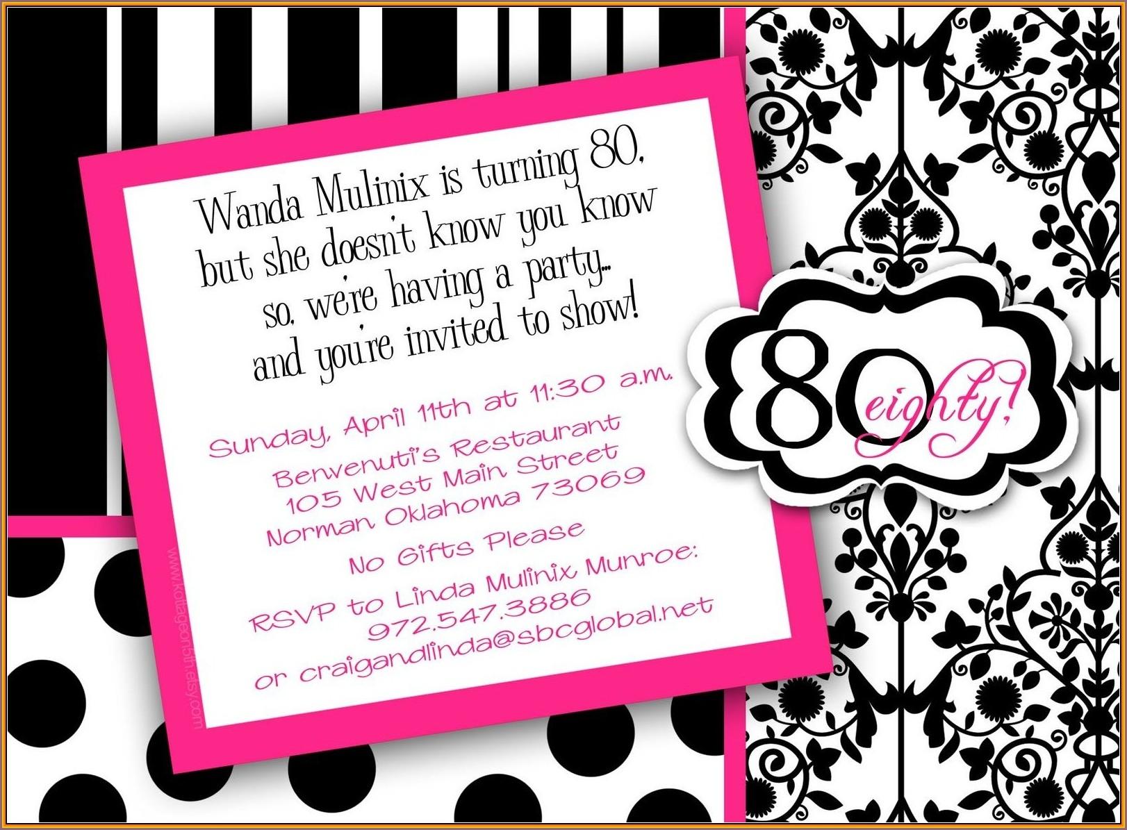 80th Birthday Invitation Wording Templates