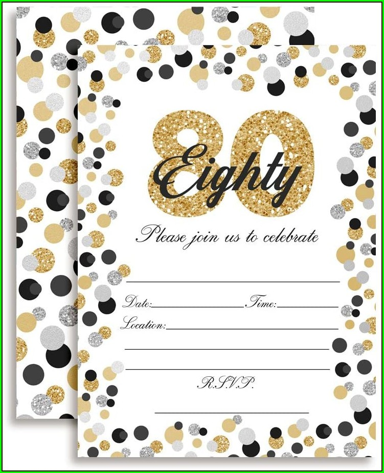 80th Birthday Invitations With Rsvp Cards