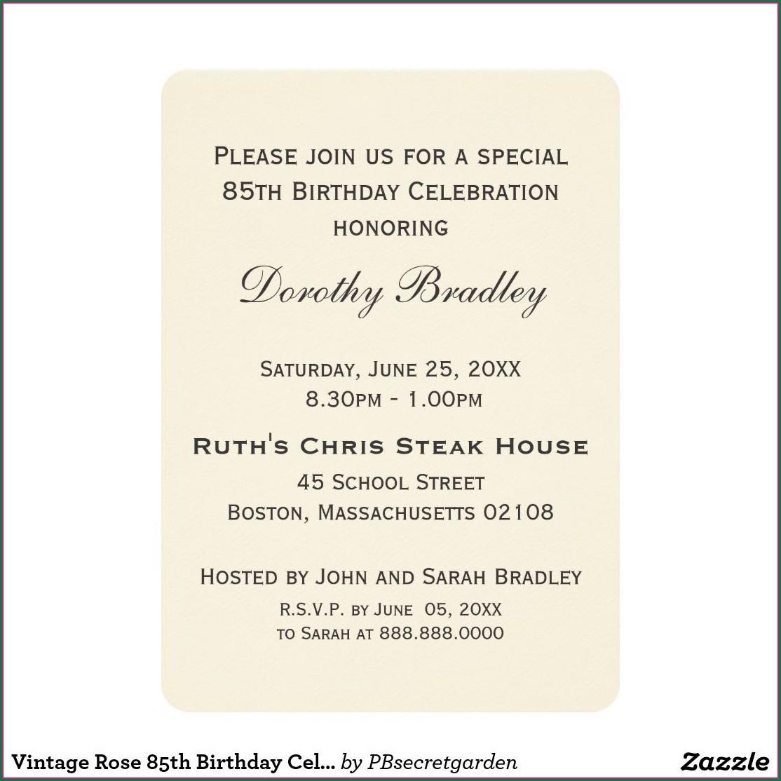 85th Birthday Invitation Ideas