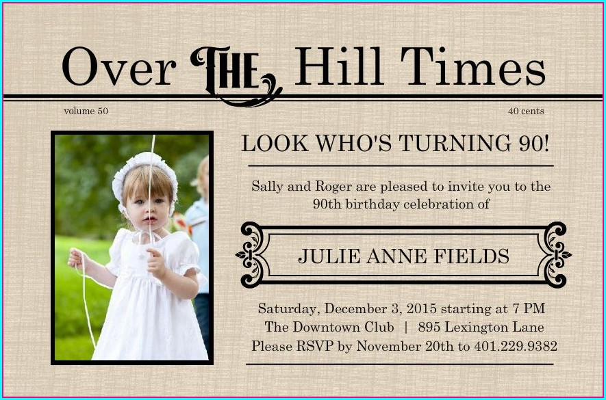 90th Birthday Invitations Templates