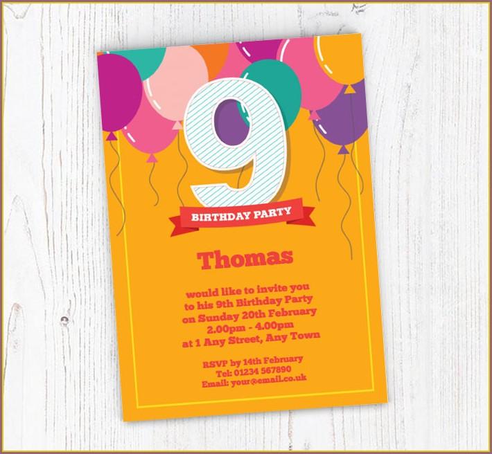9th Birthday Invitations Free