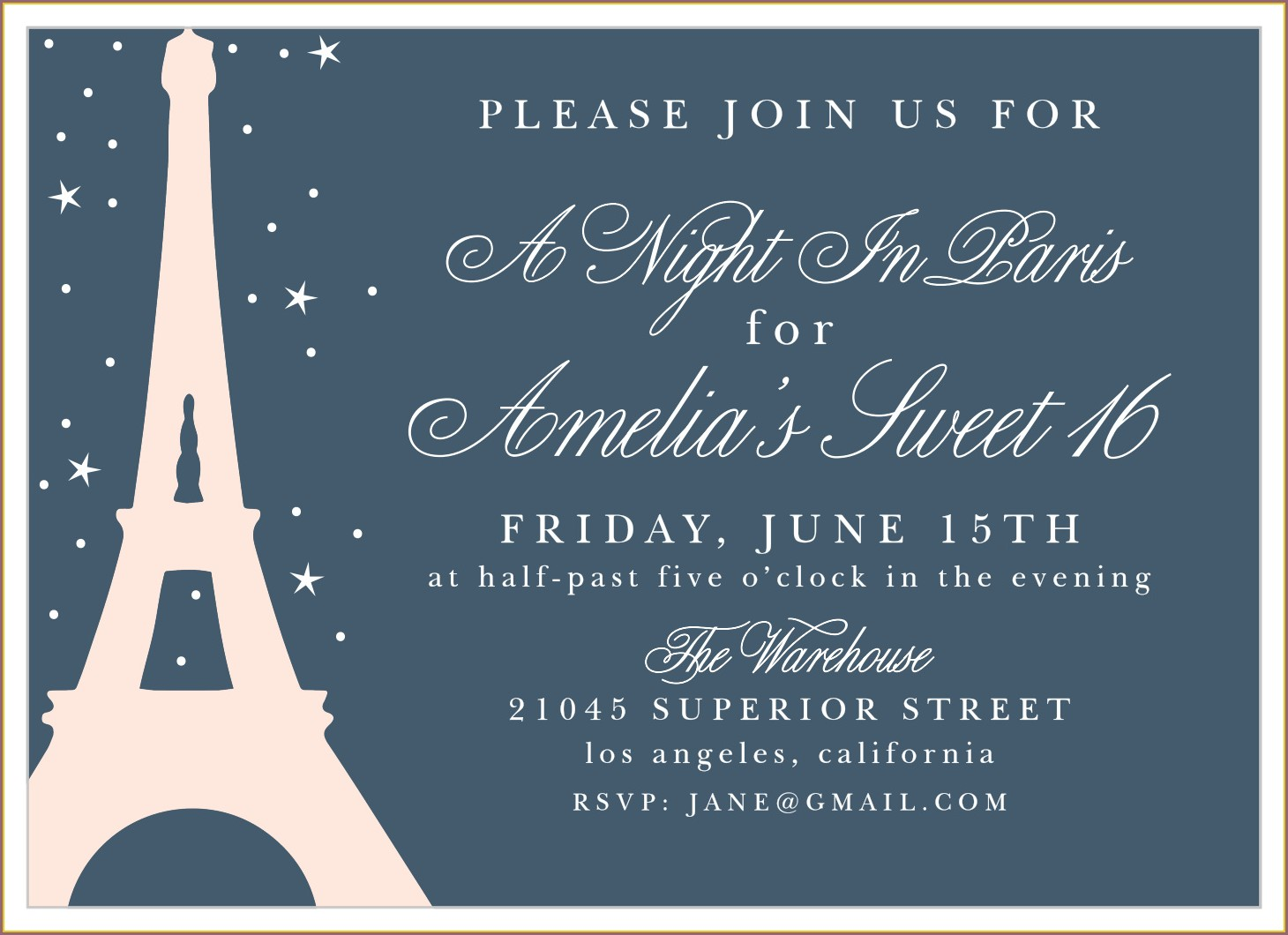 A Night In Paris Sweet 16 Invitations