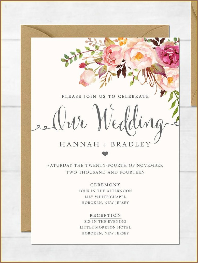 Accommodation Cards For Wedding Invitations Template