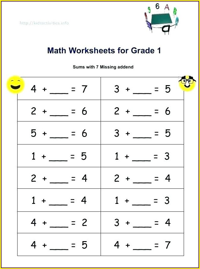 Addition Math Worksheets For First Graders