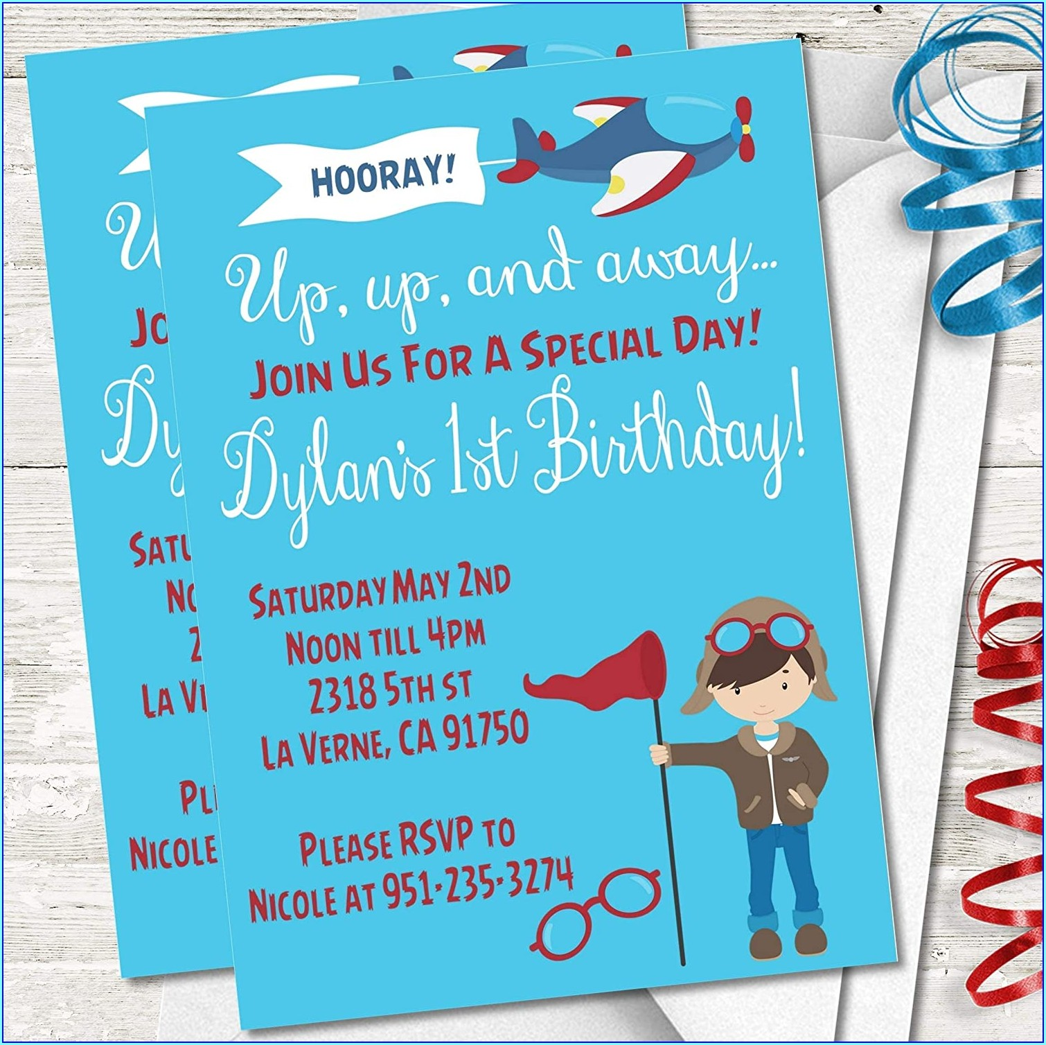 Airplane First Birthday Invitations