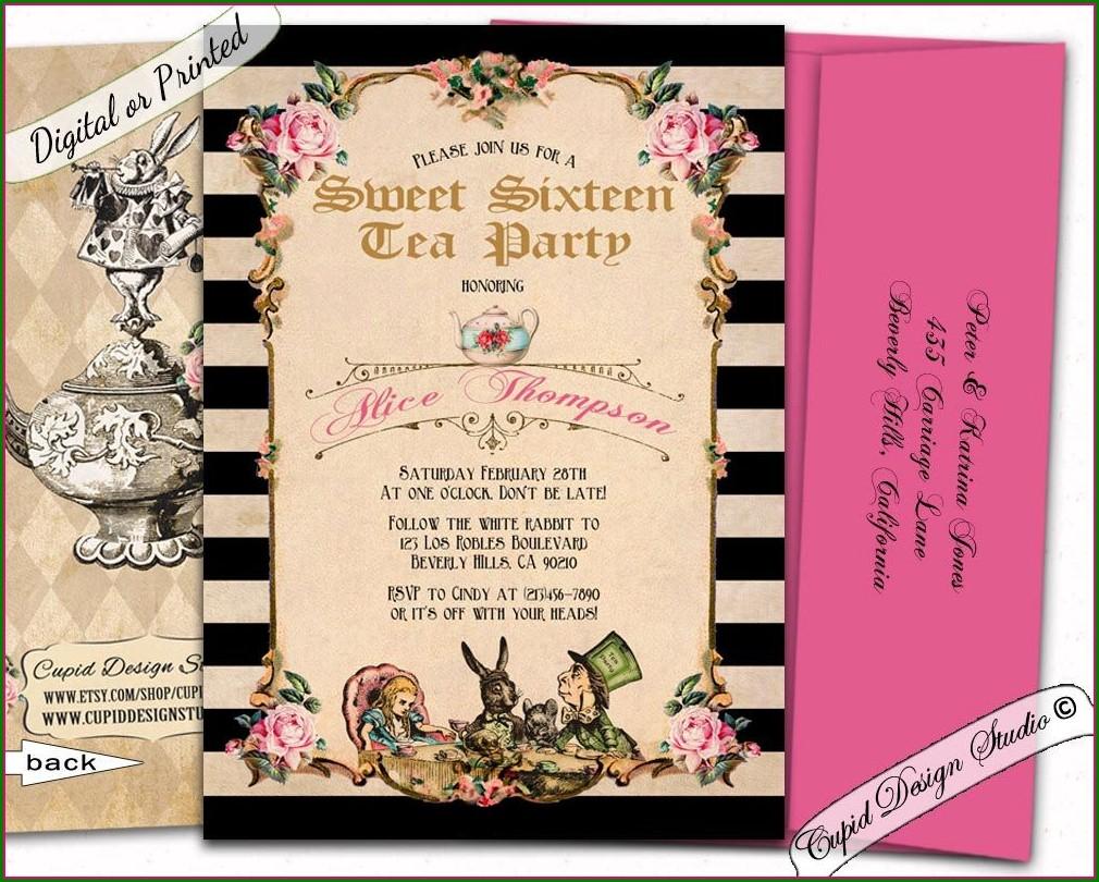 Alice In Wonderland Quinceanera Invitations