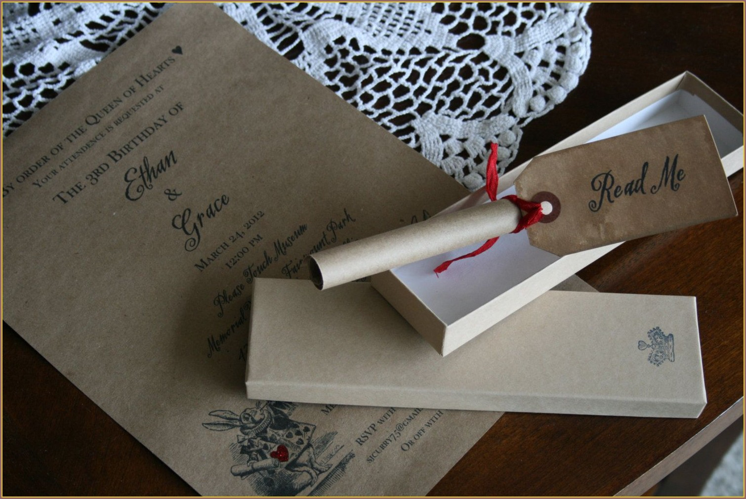 Alice In Wonderland Scroll Invitations