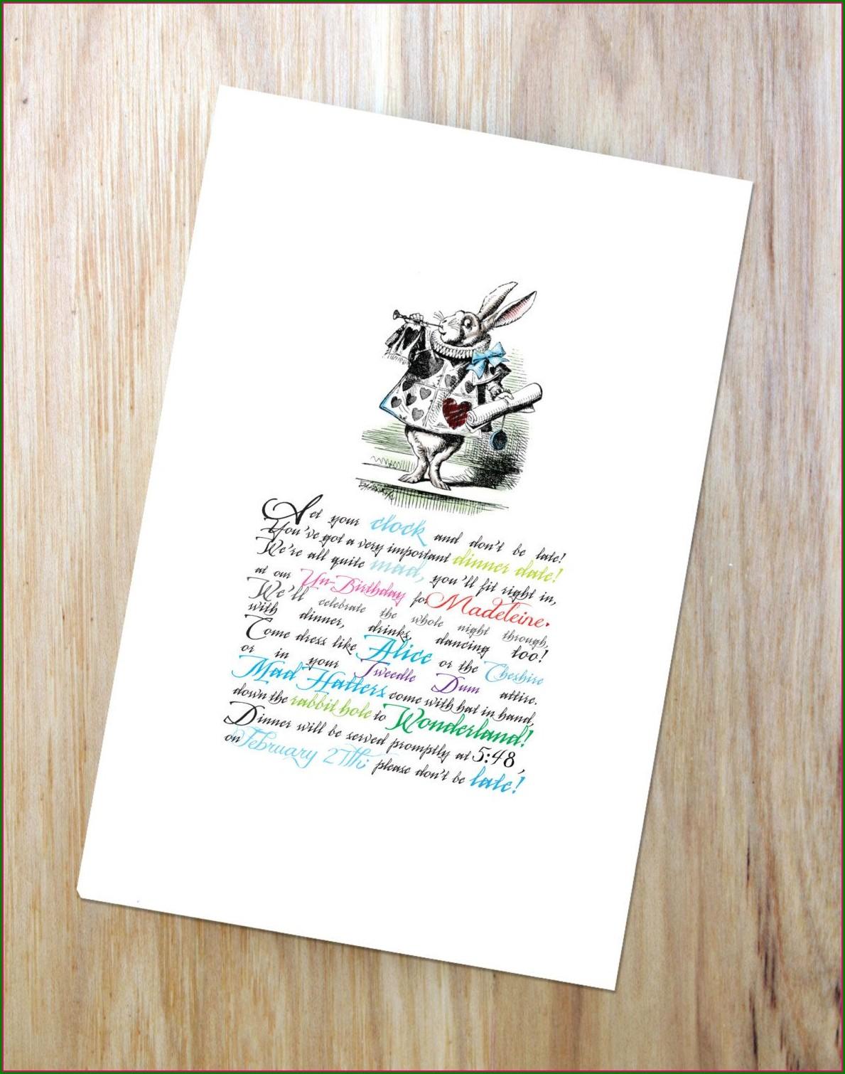 Alice In Wonderland Unbirthday Invitations