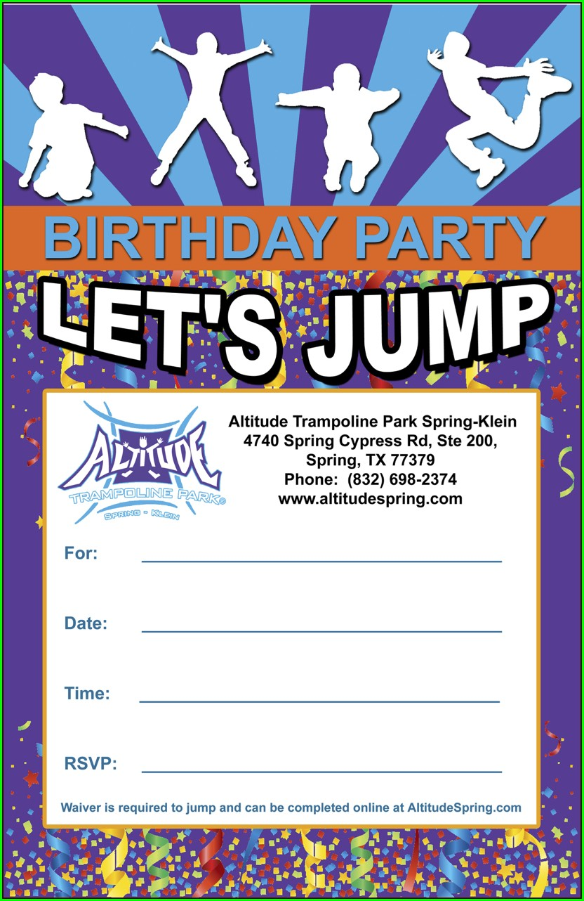 Altitude Trampoline Park Birthday Invitations