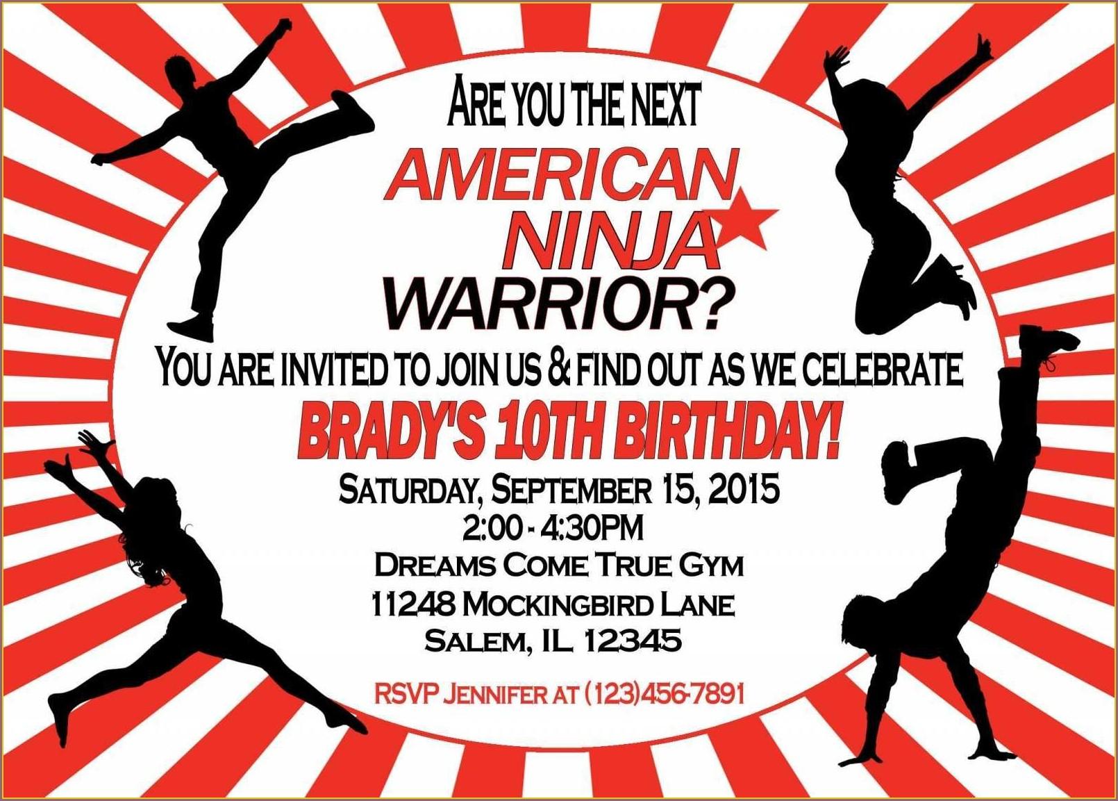 American Ninja Warrior Birthday Invitation Template