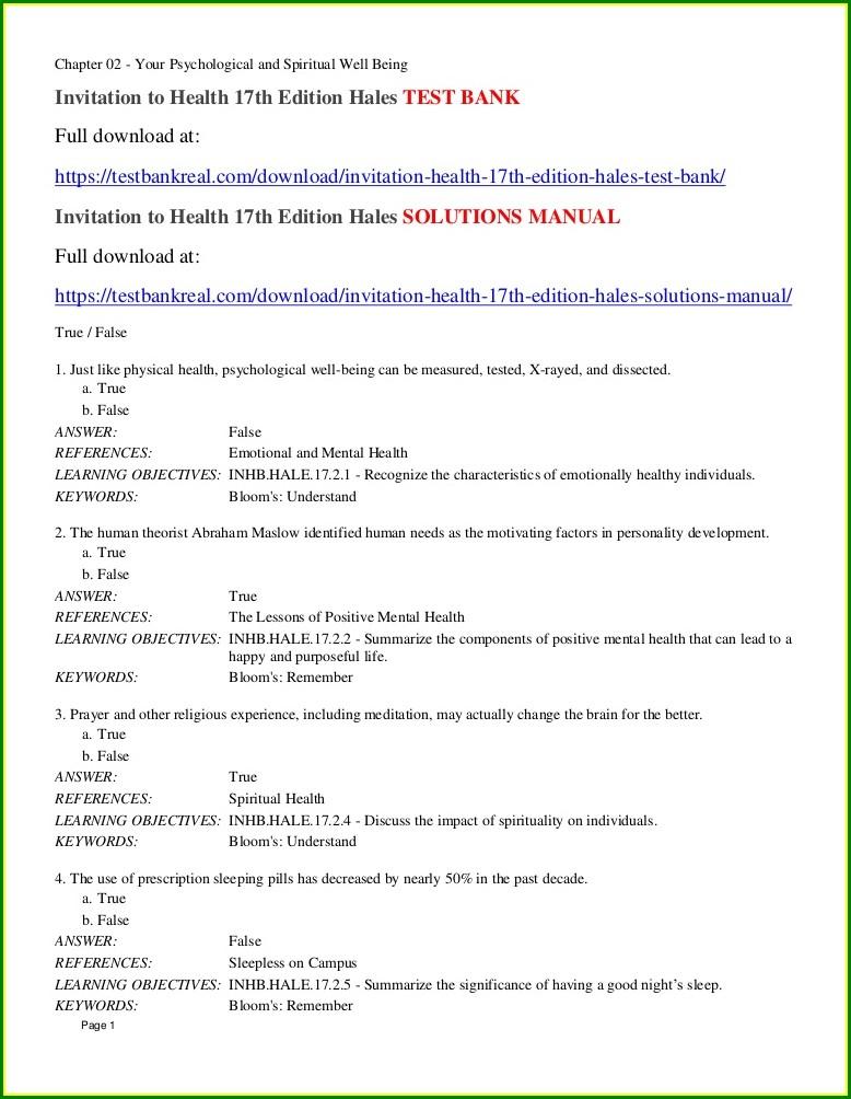 An Invitation To Health 18th Edition Ebook