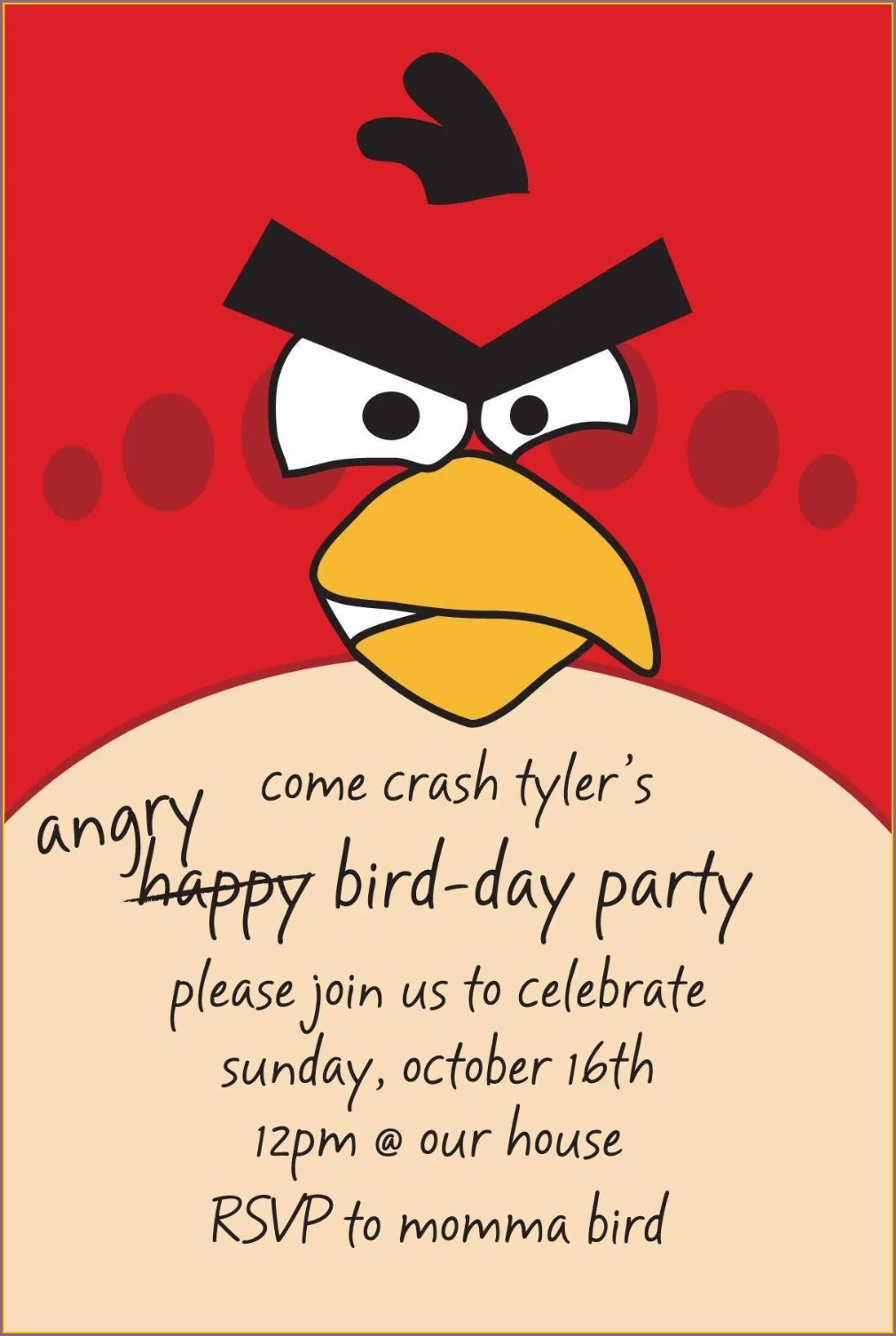 Angry Birds Invitations Free Template