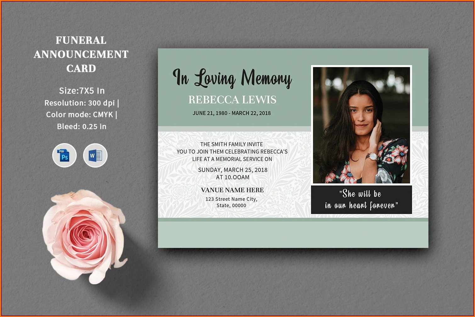 Announcement Funeral Invitation Template Word