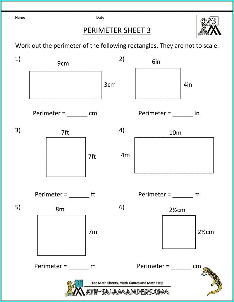 Area And Perimeter Worksheet Grade 3