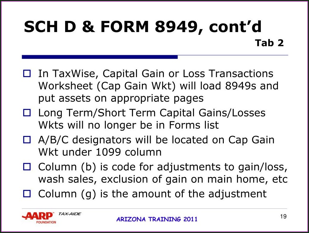Arizona Capital Gains Worksheet