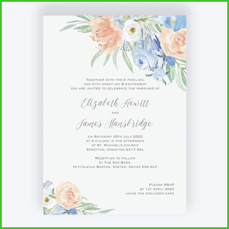 Baby Blue And Pink Wedding Invitations