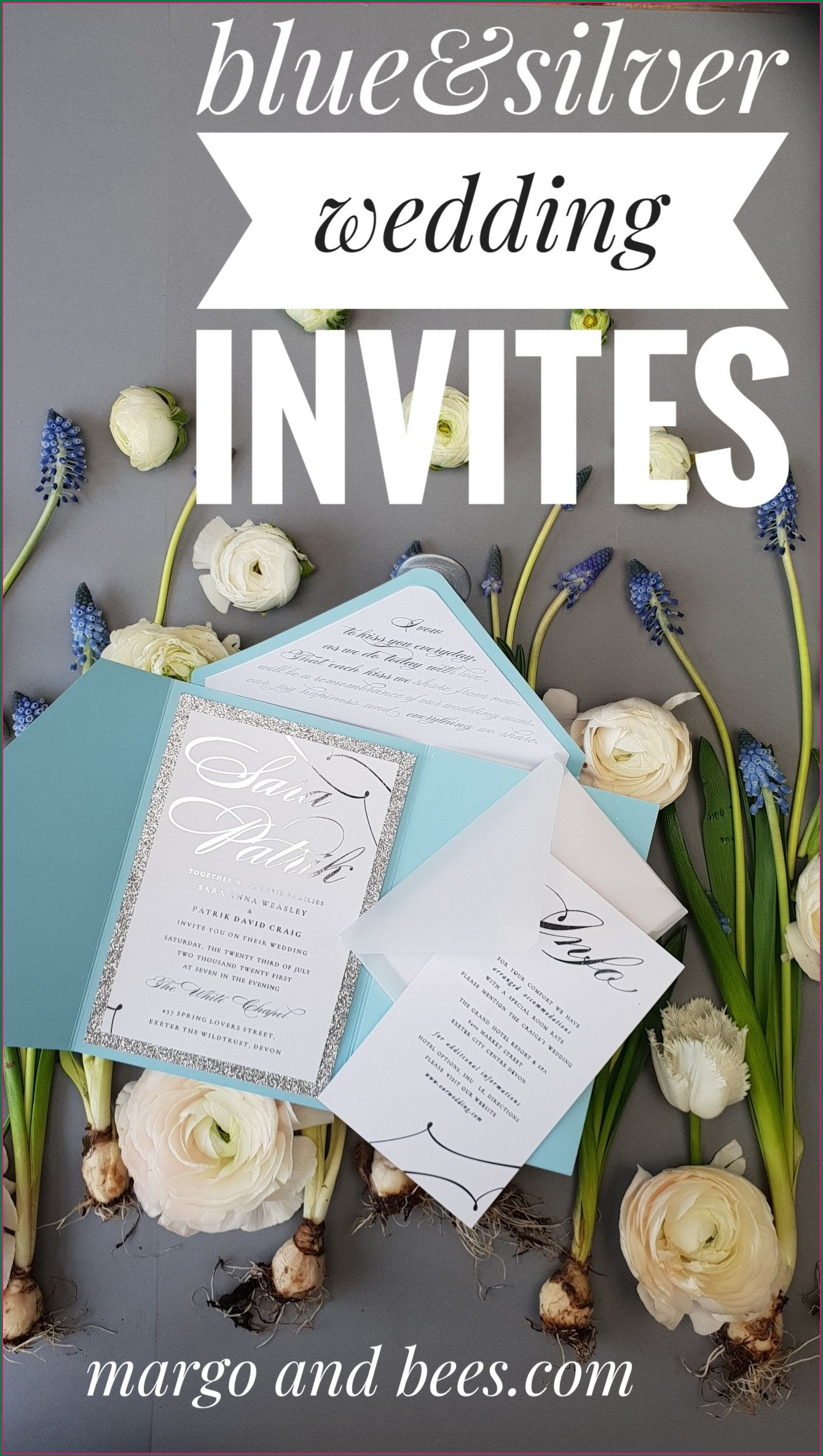 Baby Blue And Silver Wedding Invitations