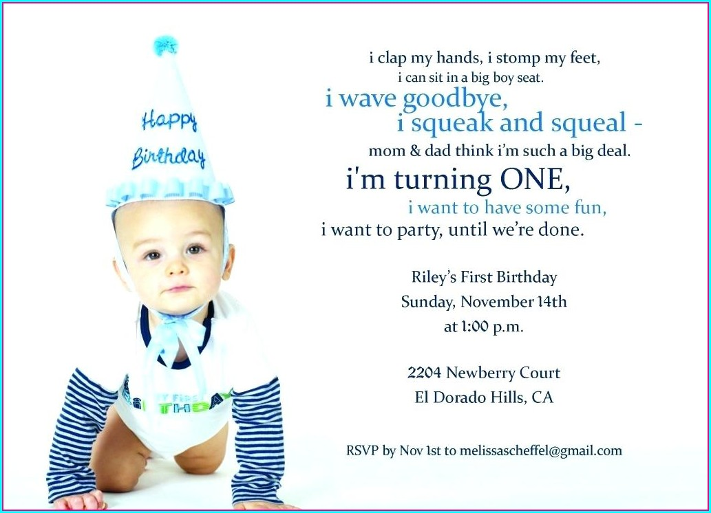 Baby Boy 1st Birthday Invitation Card Template