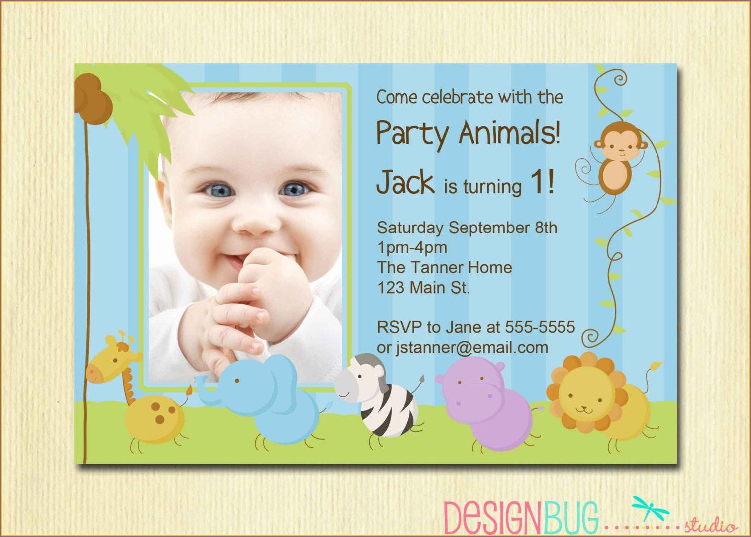 Baby Boy 1st Birthday Invitation Card Wordings