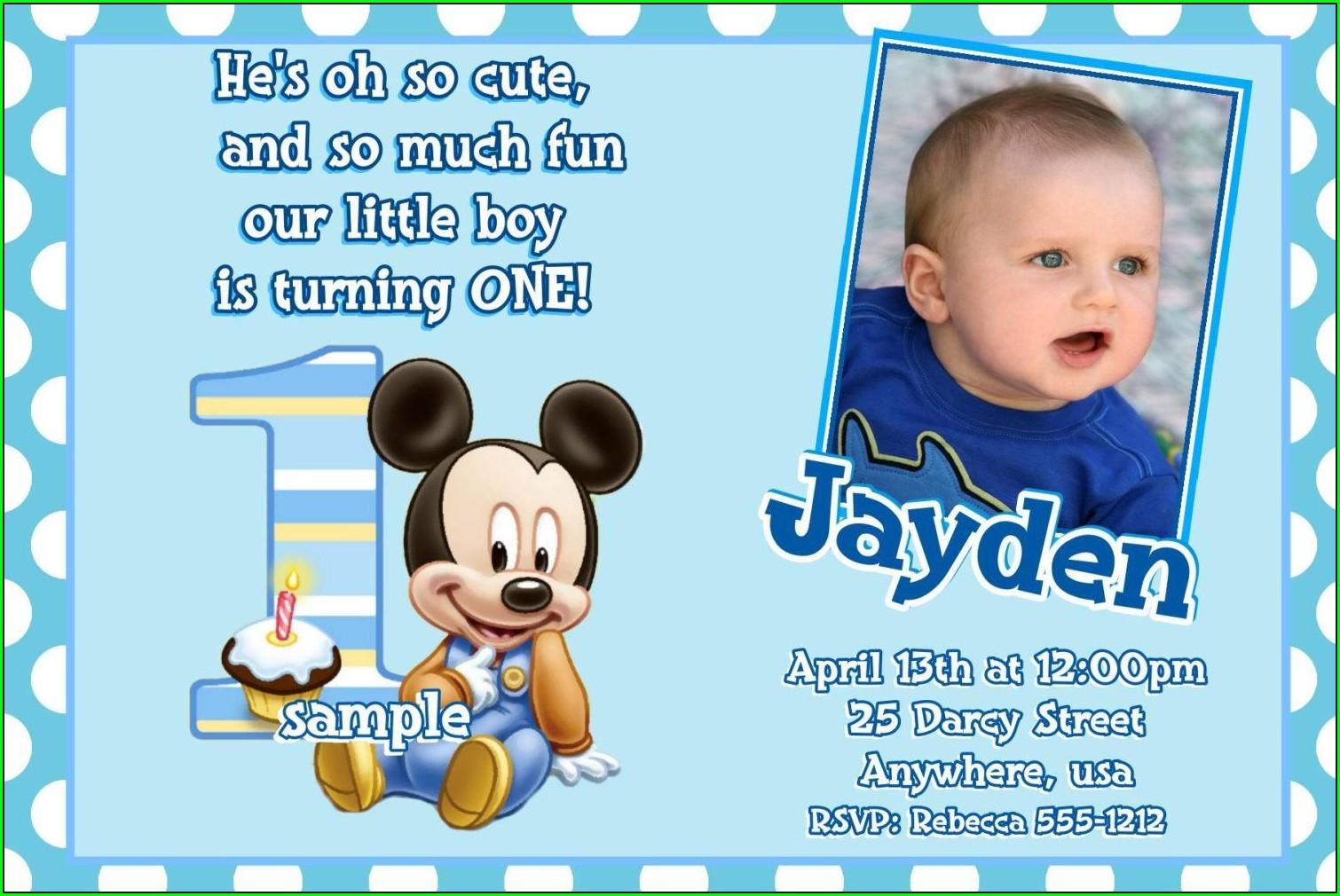 Baby Boy 1st Birthday Invitations