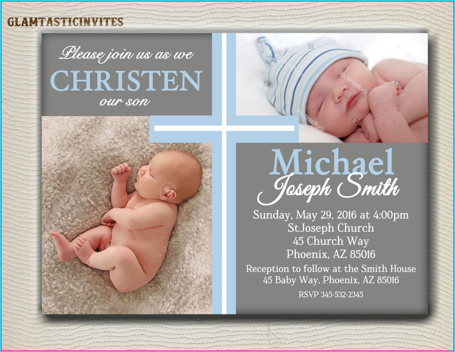 Baby Boy Baptism Invitation Card
