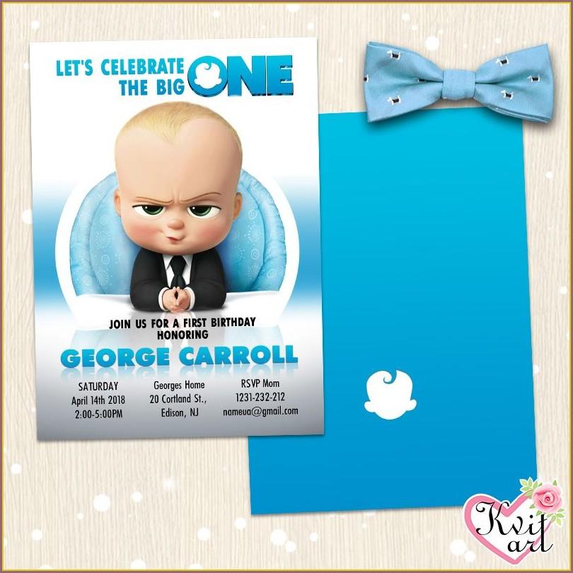 Baby Boy Birthday Invitation Card