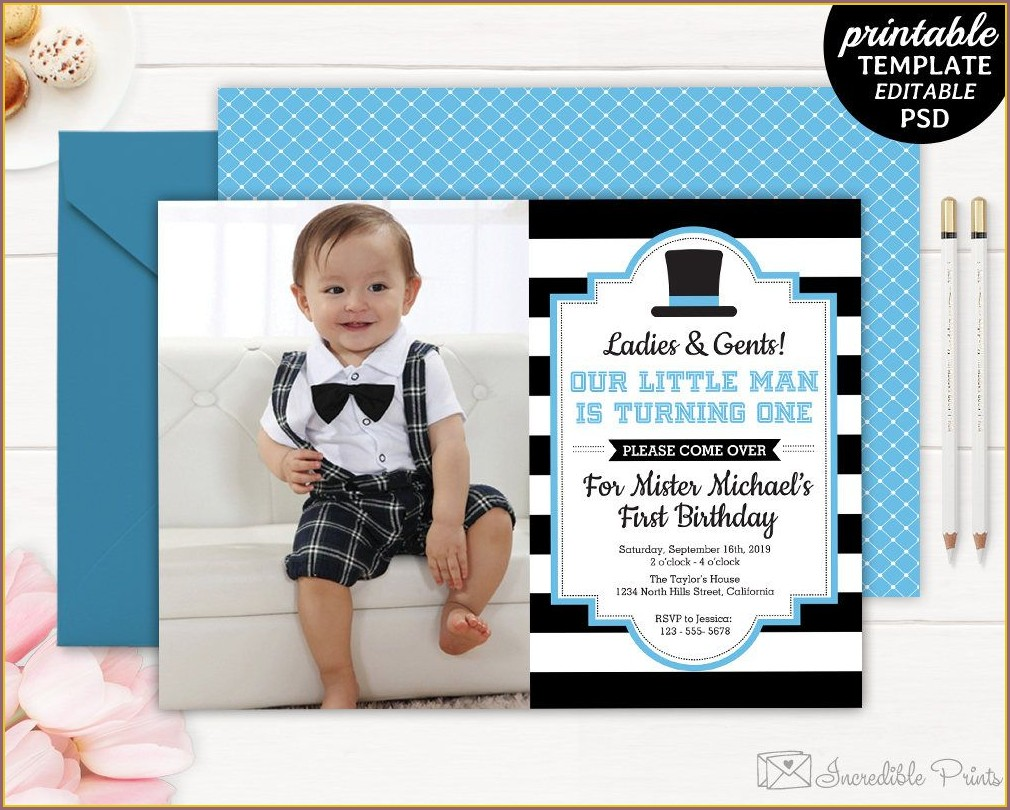 Baby Boy Blank 1st Birthday Invitation Card