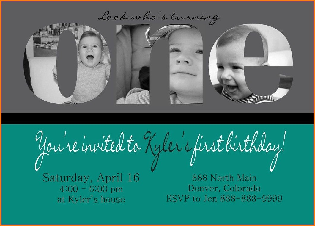 Baby Boy First Birthday Invitation Card