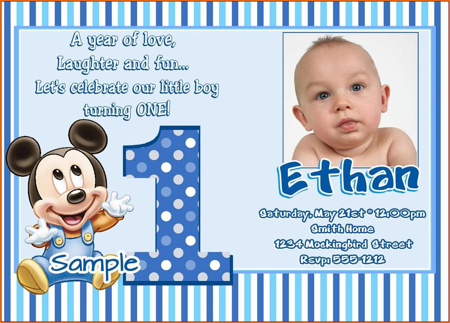 Baby Boy First Birthday Invitation Wording